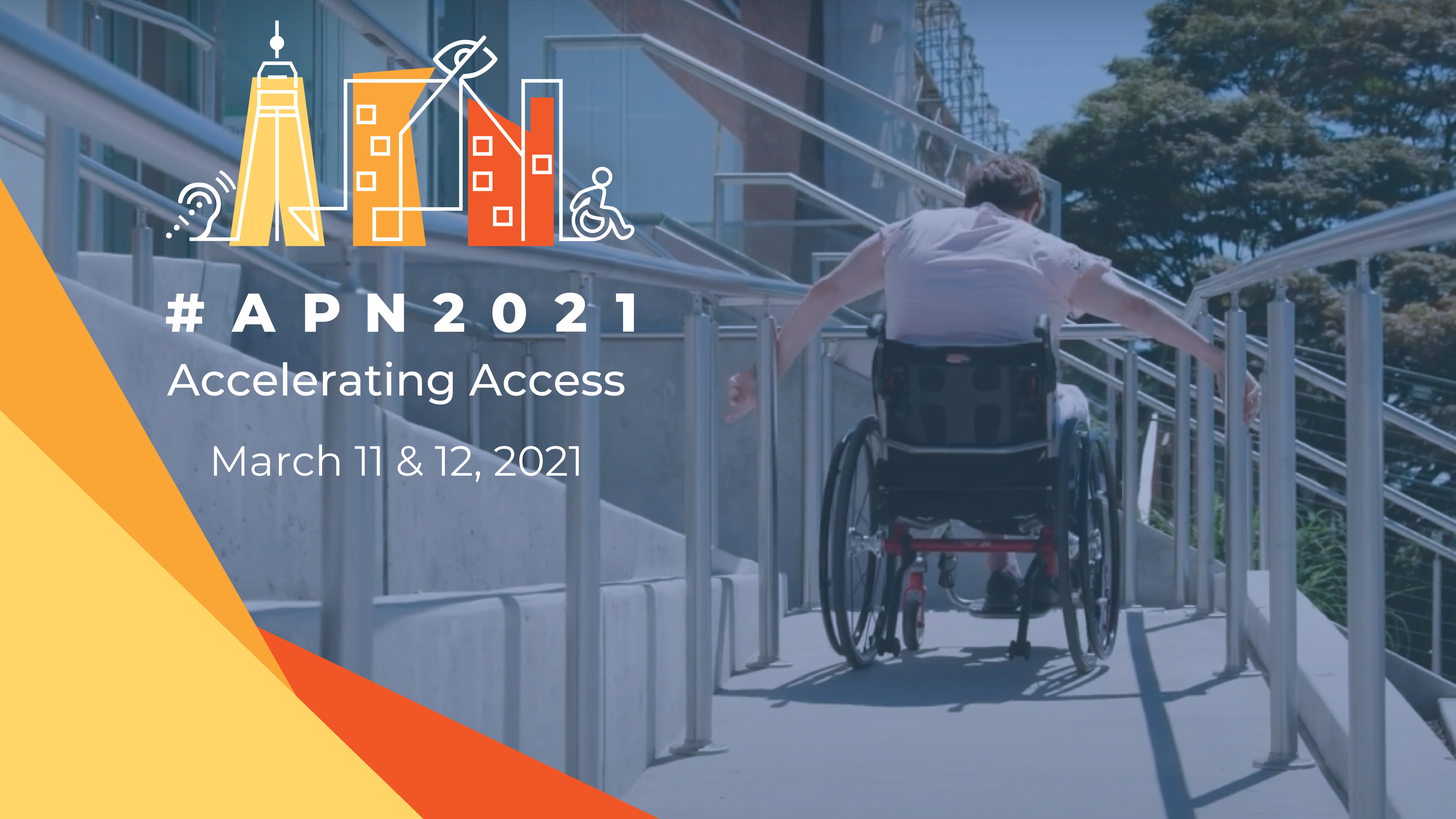 #APN2021 Accelerating Access March 11-12, 2021, woman going up steep ramp using wheelchair