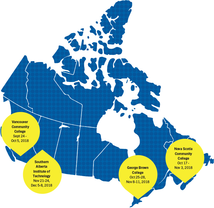 Map of Canada with Assessor Training locations pinned