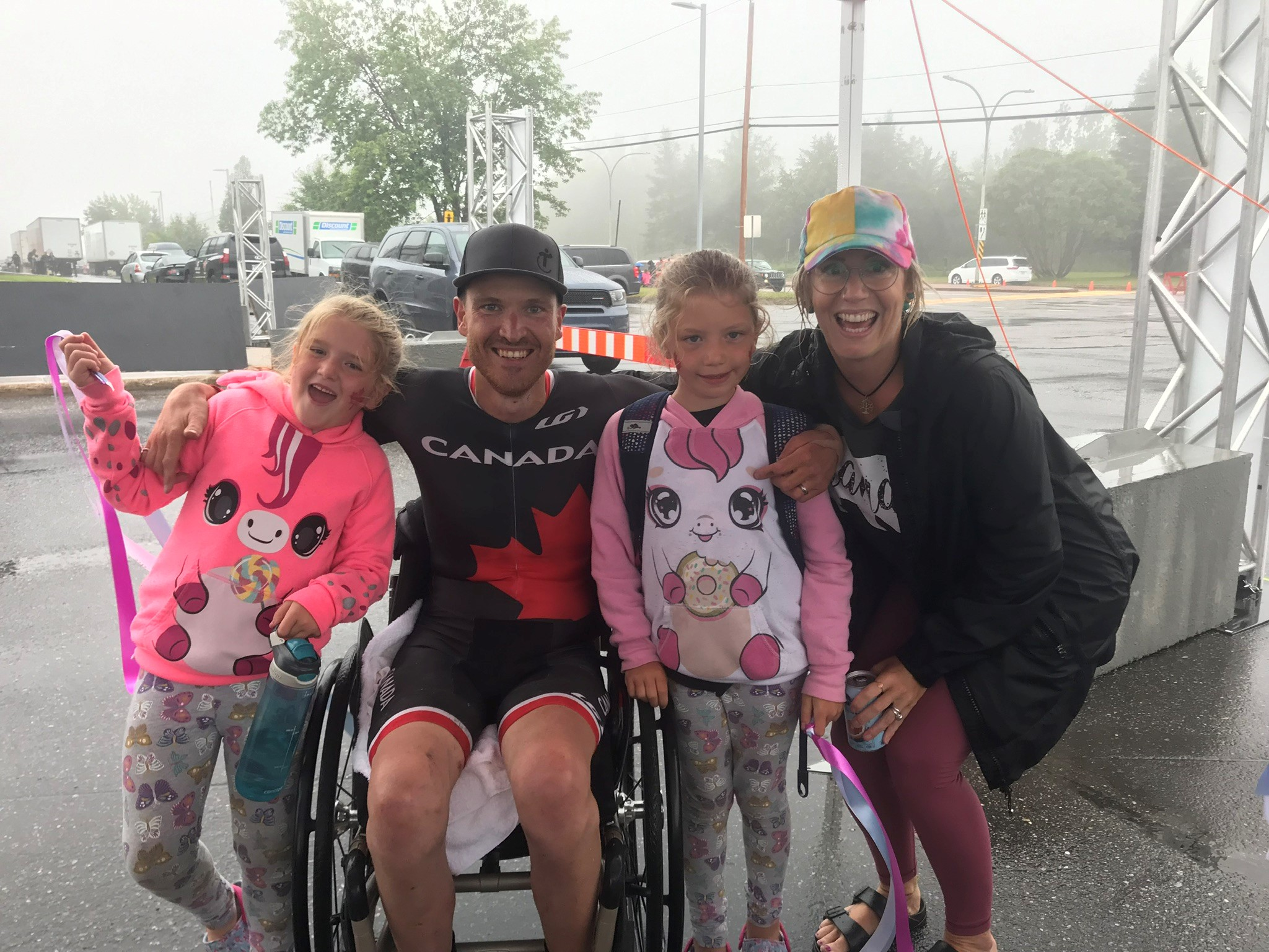 Matt with his family, two young girls and his wife