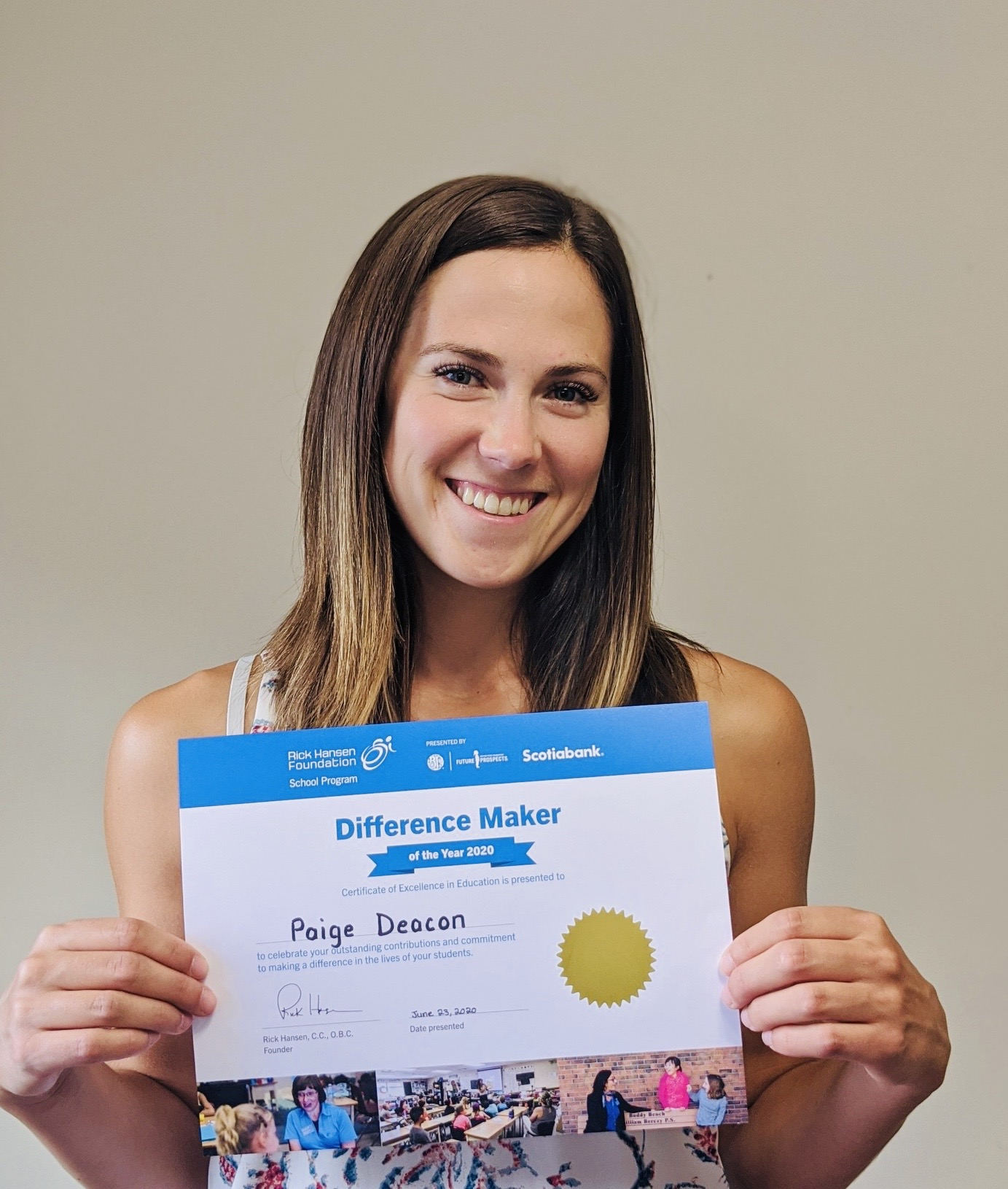 Paige with certificate