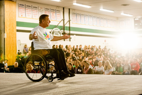 Rick Hansen speaks at a Canada 150 Accessibility and Inclusion Day