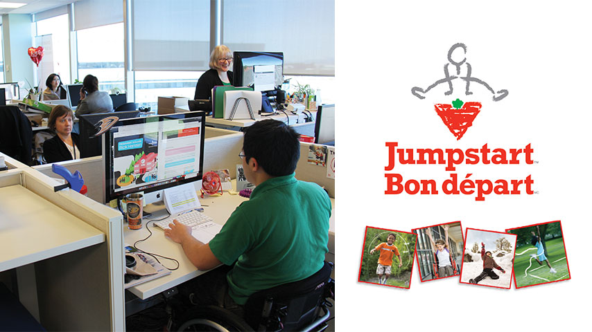On the left: Photo of the Rick Hansen Access & Inclusion Team. On the right: A post of Jumpstart program