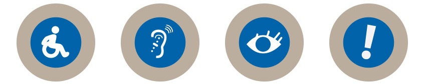 Four graphics. From left to right: Person in wheelchair, an ear with audio aid, an eye, and an exclamation point.