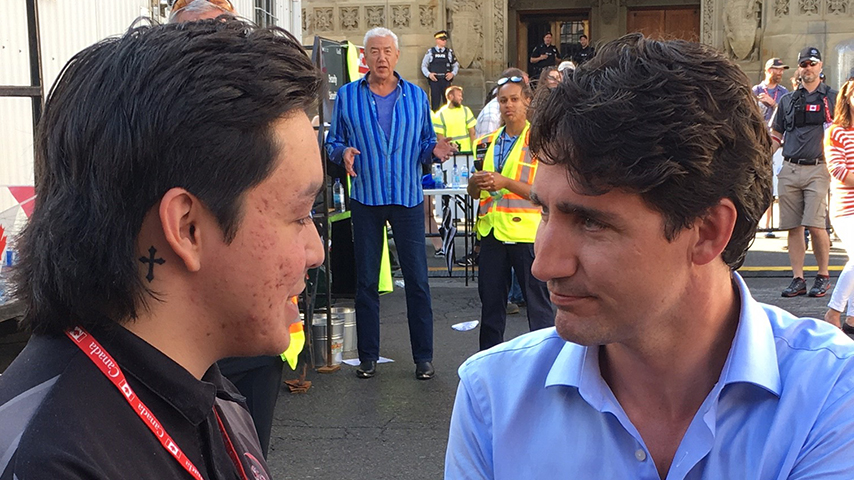 Trent meeting Canadian Prime Minister, Justin Trudeau while at WE Day Canada