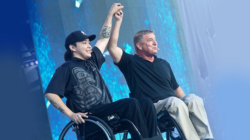 Trent and Rick on stage at WE Day Canada