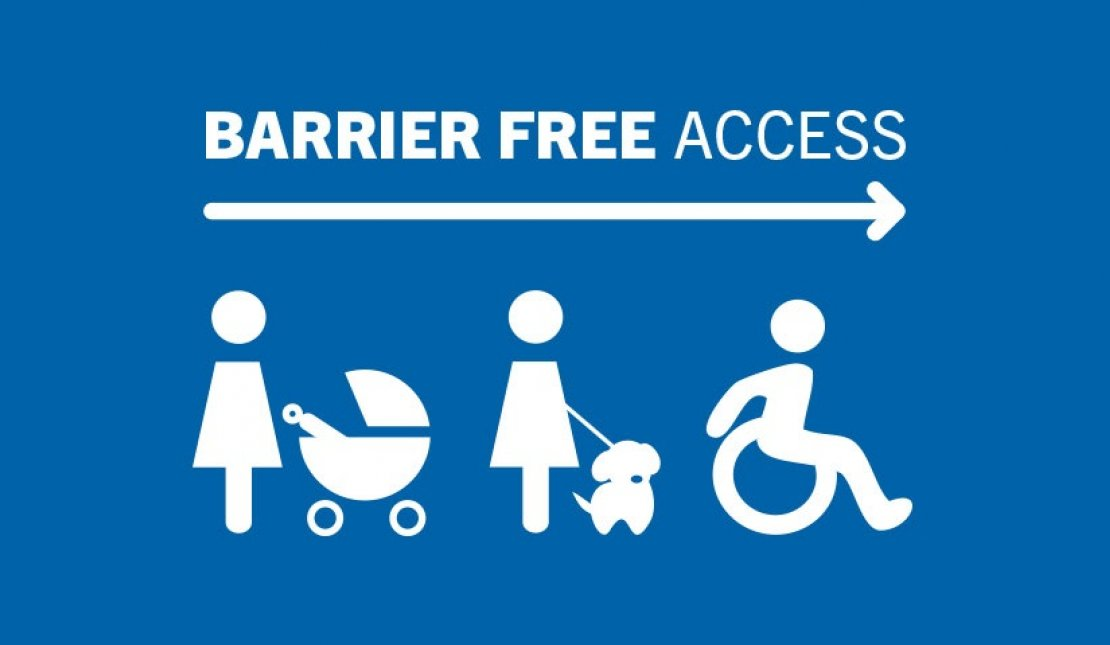 Stroller user, assistive dog user, wheelchair user head towards Barrier Free Access area
