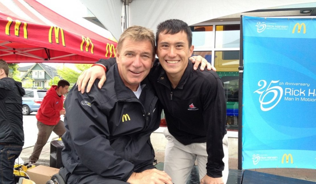 Patrick Chan and Rick Hansen at The Rick Hansen 25th Anniversary Relay