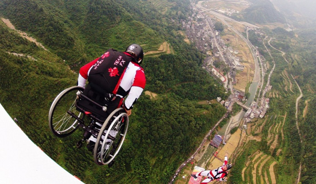 Lonnie Bissonnette skydiving in wheelchair