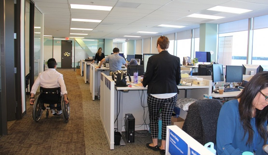 Rick Hansen Foundation staff working in an accessible office