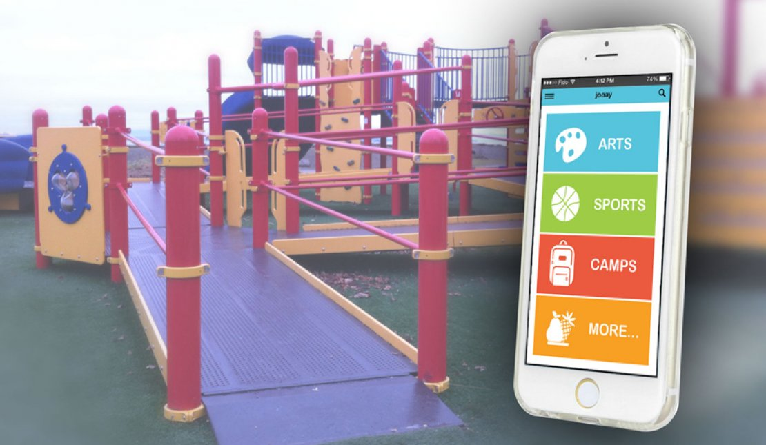 Image of Jooay app open on phone with accessible playgrounds in background