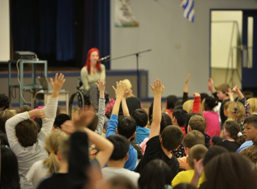 Rick Hansen Foundation ambassador speaks to elementary students about access and inclusion