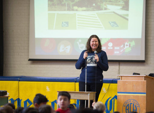 Rick Hansen Foundation ambassador deliverers presentation at Birch Cliff Heights Public School