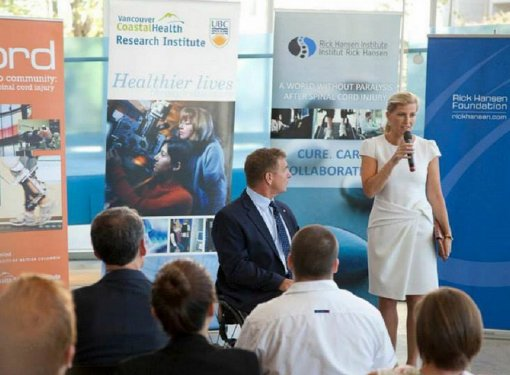 The Countess of Wessex speaks at the Blusson Spinal Cord Centre