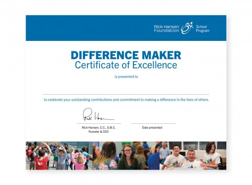 Difference Maker Student Certificate
