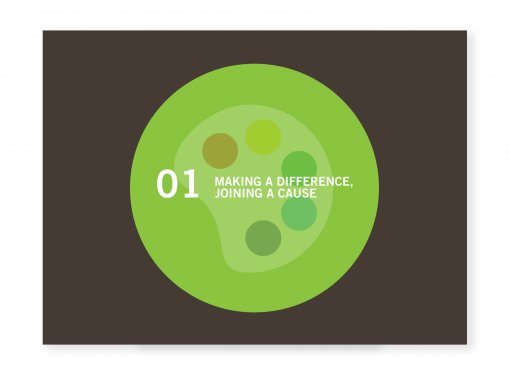 Graphic of a color palette. Text: Making a difference. Joining a cause