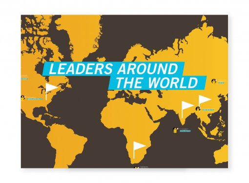 Text: leaders around the world, with a world map underneath the text