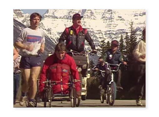 Old photo of the journey of Rick Hansen on tour