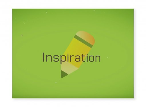 Text: Inspiration, icon of pencil