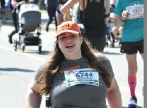 Jenna participating in a marathon