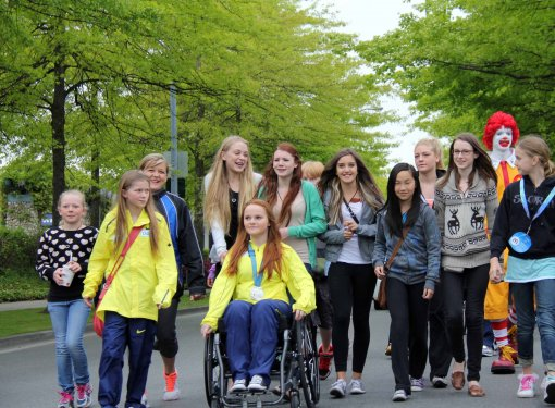 Group of girls, one wheelchair user