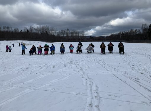 group using sleds in the snow