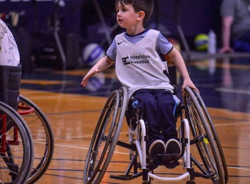 brody playing wheelchair basketball