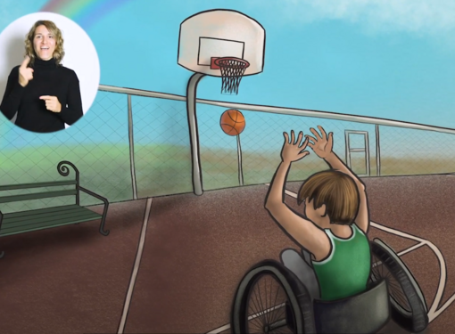 Boy playing wheelchair basketball