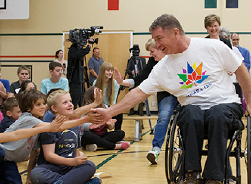 Rick Hansen is at announcement of Federal Funding for Access4All as part of Canada 150, June 2016