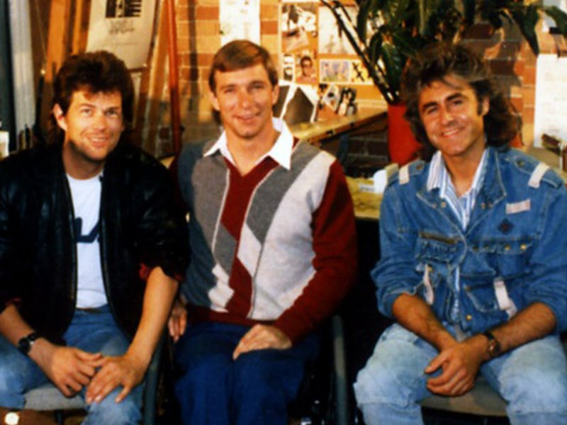 Rick Hansen along with David Foster and John Parr in Toronto, Ontario