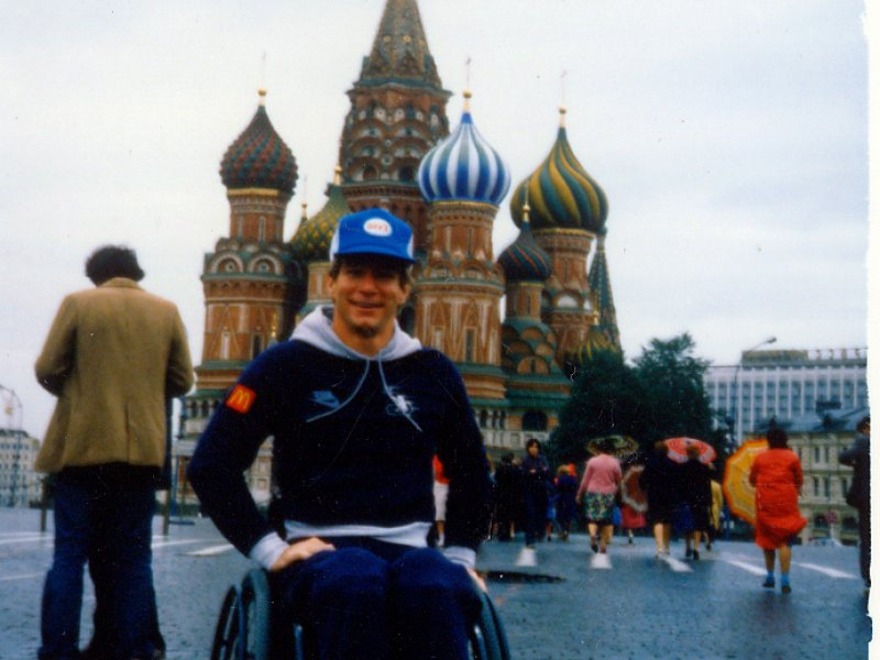 Rick Hansen in Red Square, Moscow during early September of 1985.