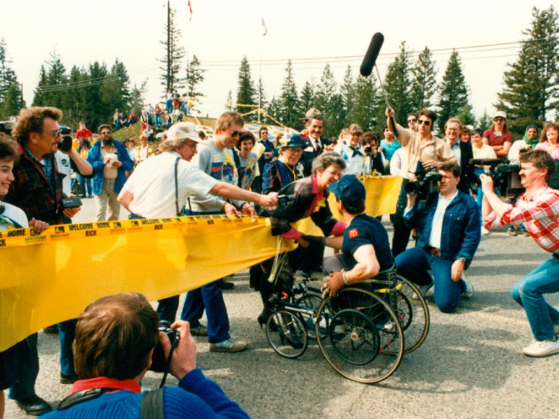 Rick Hansen crossing banner in Williams Lake, British Columbia