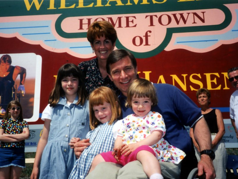 Photo of Rick Hansen and his family in his hometown, Williams Lake