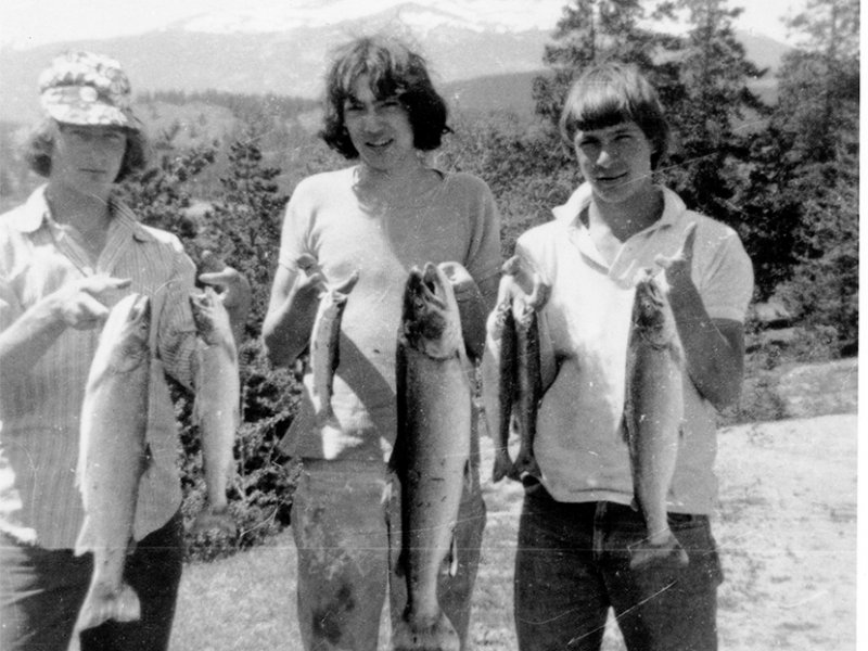 Rick shows off his catch with friends Randy Brink and Don Alder shortly before the accident in which he sustained a spinal cord injury.