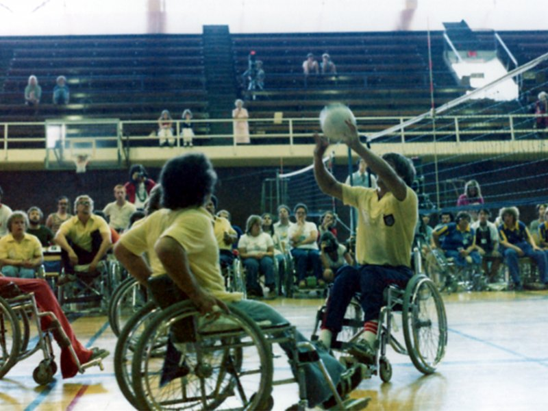 Rick Hansen plays wheelchair volleyball after returning home from rehabilitation