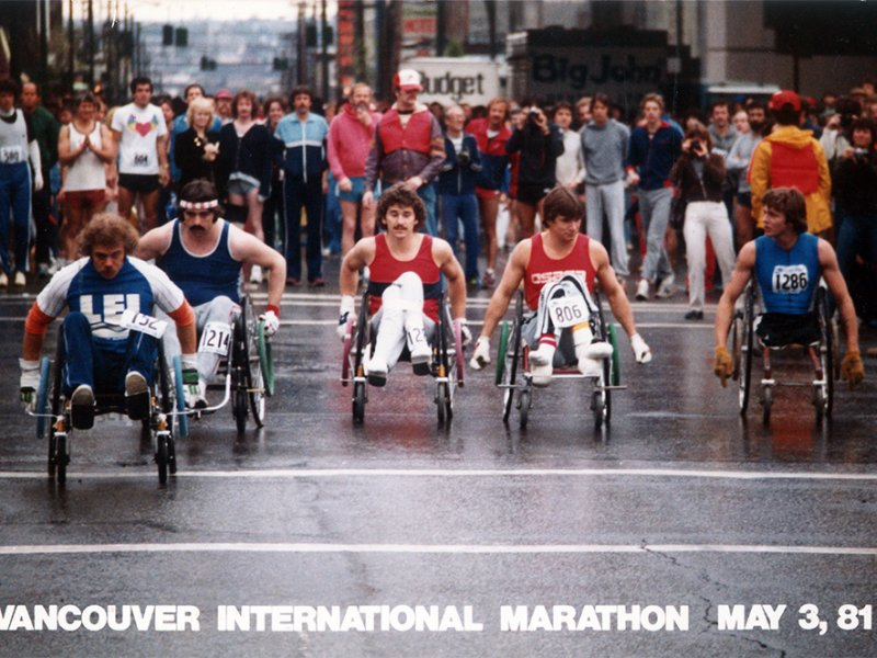 Rick Hansen and team participate in Vancouver International Marathon in May, 1981
