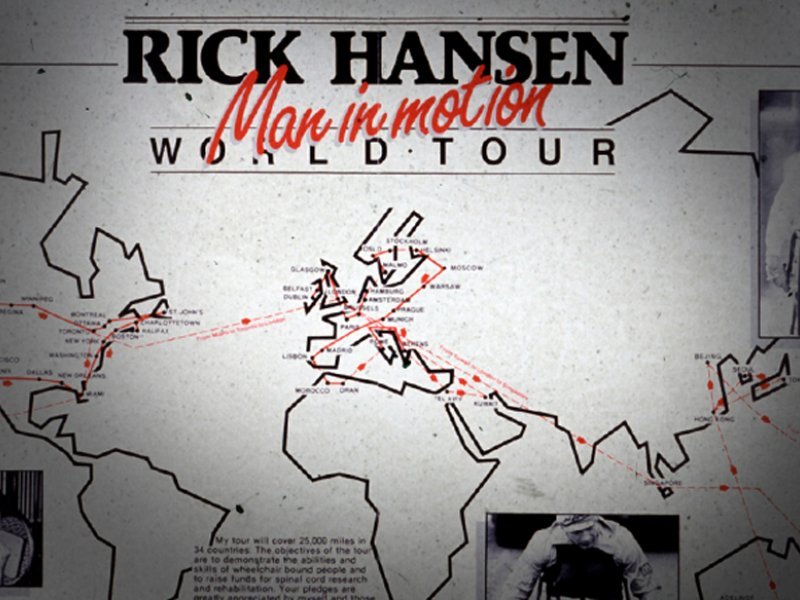 Mural of locations visited during Rick Hansen Man in Motion World Tour