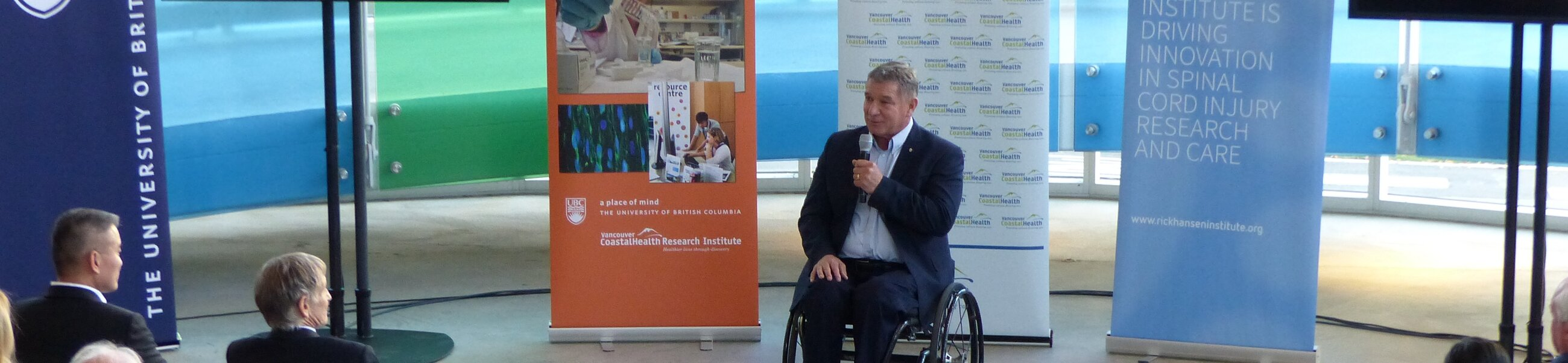 Rick speaks at an event at Blusson Spinal Cord Centre