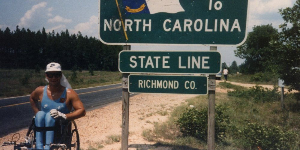 Rick Hansen crossed the state line into North Carolina