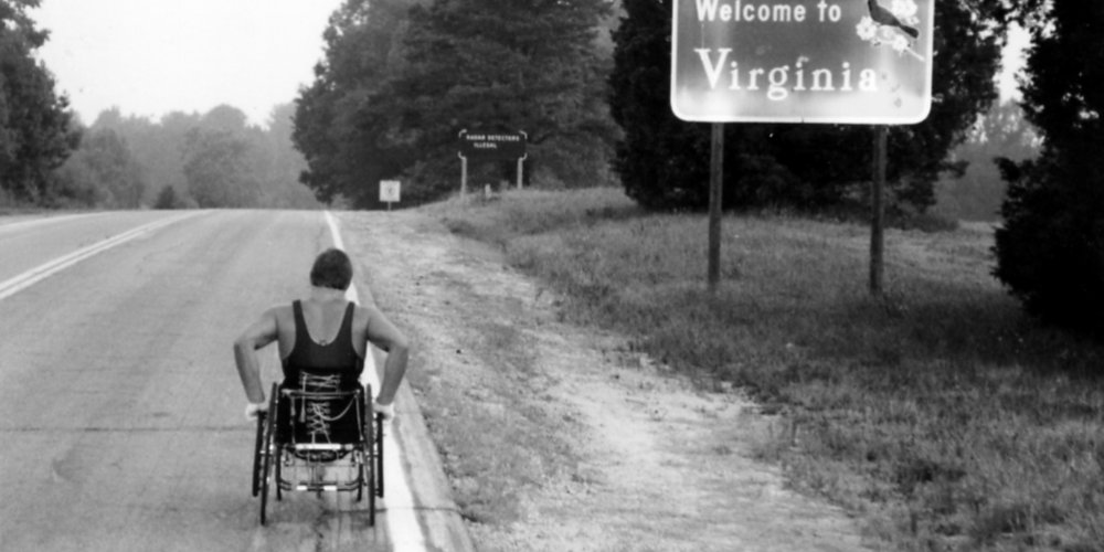 Rick Hansen crossed the Virginia state line from Henderson, North Carolina