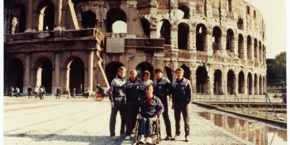 The Man in Motion World tour team in front of the Colosseum in Rome, Italy.