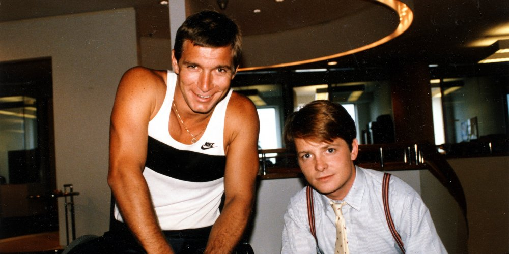 Rick Hansen meeting with Michael J Fox in New York City on Aug 4, 1986.