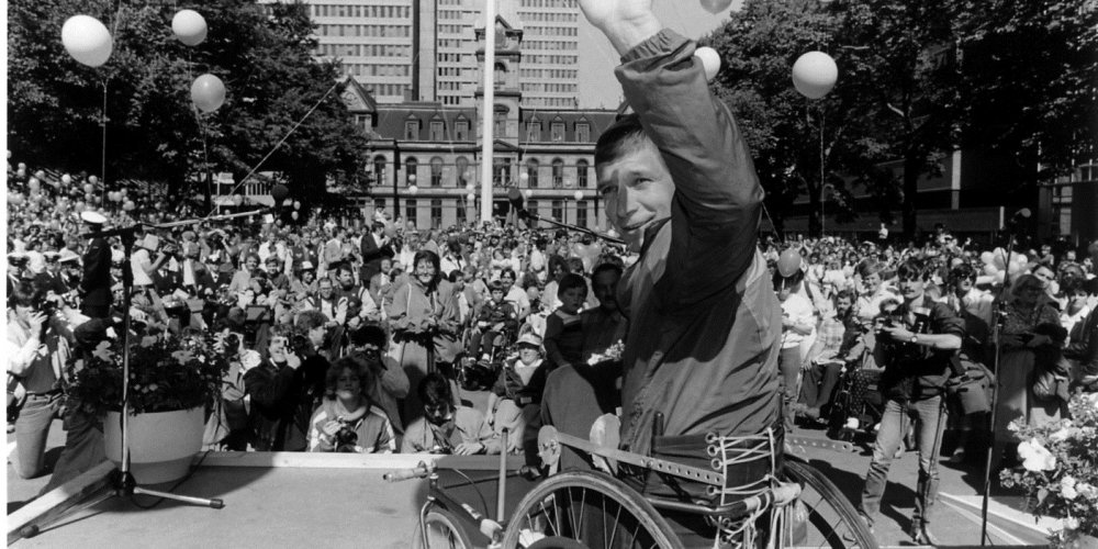 Rick Hansen in Halifax, Nova Scotia before a crowd of approximately 7000 people.